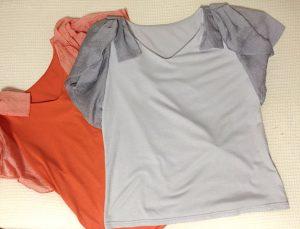 オレンジグレーTシャツ
